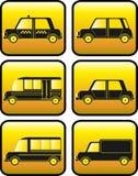 Conjunto de botones con la silueta de los coches Fotos de archivo libres de regalías