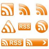 Conjunto de botones de RSS Fotos de archivo libres de regalías