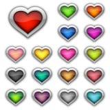 Conjunto de botones del corazón Imagen de archivo