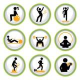 Conjunto de botones del pictograma de la aptitud Fotografía de archivo libre de regalías