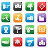 Conjunto de botones del vídeo coloreado Fotografía de archivo libre de regalías