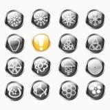 Conjunto de botones redondos brillantes metálicos aislados Imagen de archivo libre de regalías
