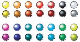 Conjunto de botones redondos multicolores Fotografía de archivo