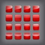 Conjunto de botones rojos en blanco ilustración del vector