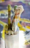 Conjunto de brochas en pintura al óleo Foto de archivo