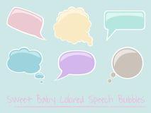 Conjunto de burbujas brillantes coloreadas bebé del discurso Imagen de archivo