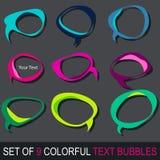 Conjunto de burbujas coloridas del texto del cómic Imagen de archivo libre de regalías