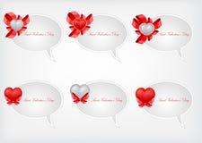 Conjunto de burbujas del discurso de la tarjeta del día de San Valentín del santo Foto de archivo libre de regalías