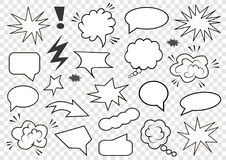Conjunto de burbujas del discurso Sistema de la plantilla en blanco en estilo del arte pop Ilustración del vector ilustración del vector