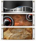 Conjunto de cabeceras metálicas de la música Foto de archivo