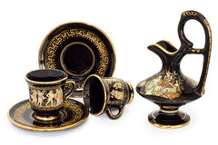 Conjunto de café de cerámica decorativo foto de archivo