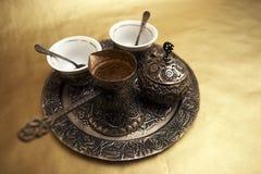 Conjunto de café turco antiguo Fotografía de archivo