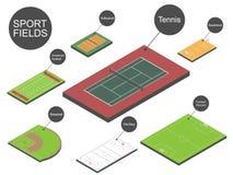 Conjunto de campos de deporte. Imágenes de archivo libres de regalías