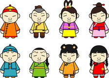 Conjunto de caracteres chino de la historieta Foto de archivo libre de regalías