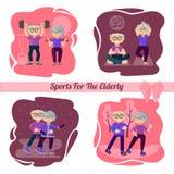 Conjunto de caracteres Contratan a la más vieja gente activa a deportes Deportes para los ancianos ilustración del vector