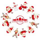 Conjunto de caracteres de la Navidad Fotos de archivo