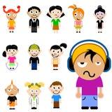 Conjunto de caracteres de los niños de la historieta Foto de archivo libre de regalías