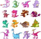 Conjunto de caracteres del dinosaurio Foto de archivo