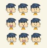 Conjunto de caras con diverso estilo de la historieta de las expresiones de la emoción Fotografía de archivo libre de regalías