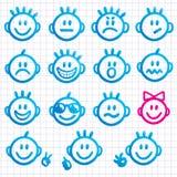 Conjunto de caras con varias expresiones de la emoción. Fotografía de archivo