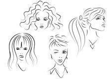 Conjunto de caras de las mujeres Stock de ilustración