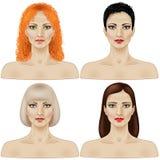 Conjunto de caras de las mujeres Imágenes de archivo libres de regalías