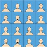 Conjunto de caras felices Imagen de archivo libre de regalías
