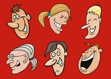 Conjunto de caras sonrientes Fotos de archivo libres de regalías