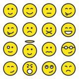 Conjunto de caras sonrientes stock de ilustración