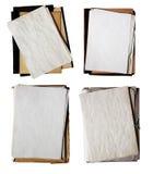 Conjunto de carpetas viejas con la pila de papeles Imagen de archivo