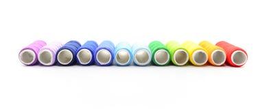 Conjunto de carretes coloridos de la cuerda de rosca Foto de archivo