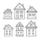 Conjunto de casas de la historieta Colección de los iconos stock de ilustración