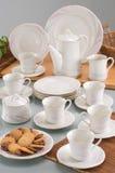 Conjunto de cena de cerámica Foto de archivo libre de regalías