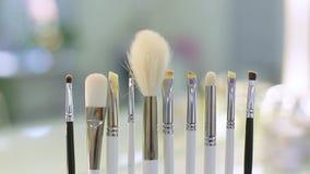 Conjunto de cepillo para el maquillaje almacen de metraje de vídeo