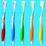 Conjunto de cepillos de dientes Imágenes de archivo libres de regalías
