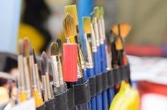 Conjunto de cepillos de pintura Foco selectivo foto de archivo libre de regalías