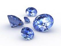 Conjunto de cinco piedras redondas del zafiro Imagen de archivo libre de regalías