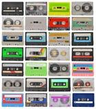 Conjunto de cintas de cassette retras Foto de archivo libre de regalías
