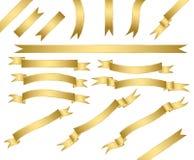 Conjunto de cintas del oro Foto de archivo libre de regalías