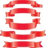 Conjunto de cintas del rojo del vector. Fotografía de archivo libre de regalías