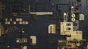 Conjunto de circuitos electrónico con oro en fondo negro Fotografía de archivo libre de regalías