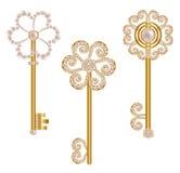 Conjunto de claves del oro Foto de archivo libre de regalías