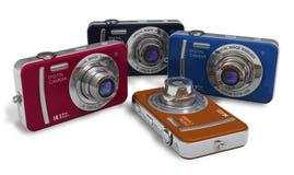 Conjunto de cámaras digitales del compacto del color Imagen de archivo libre de regalías