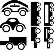 Conjunto de coches negros en un fondo blanco Imagen de archivo libre de regalías