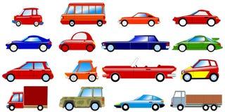 Conjunto de coches simbólicos Imagen de archivo libre de regalías