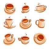 Conjunto de Cofee Vector Imágenes de archivo libres de regalías