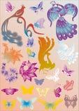 Conjunto de color de pájaros y de mariposas estilizados Fotos de archivo libres de regalías