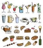 Conjunto de color del alimento y de la bebida Fotografía de archivo libre de regalías