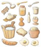 Conjunto de color del desayuno Fotos de archivo