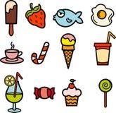 Conjunto de color del icono del alimento Imágenes de archivo libres de regalías